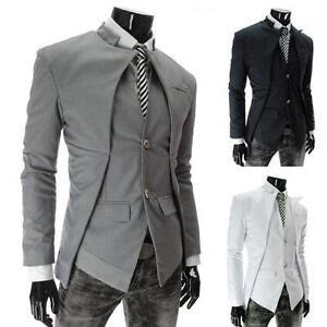 Mens Fashion Slim Fit Suit · Mens Tuxedos Jackets + Pants Slim Fit Business  Formal Groom Wedding Blazer Suits 1b4b6343a22e