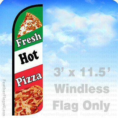 Fresh Hot Pizza - Windless Swooper Flag Feather 3x11.5 Banner Sign - Gq93