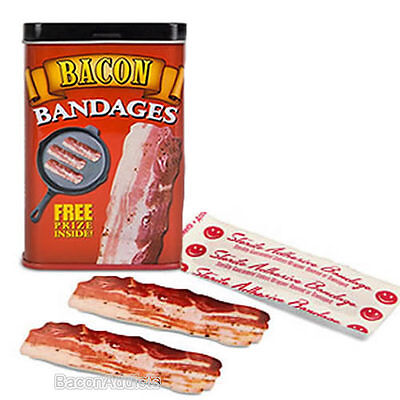 Bacon Bandages Adhesive Band Aids   15 Bacon Strips Kids Bandaids In Gift Tin