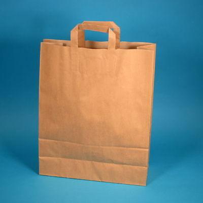 250 Papiertragetaschen Papiertüten Einkaufstüten Bio braun 80g stark 32+12x40cm