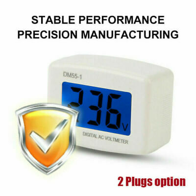 Dm55-1 Digital Lcd Voltage Test Monitor Useu Plug In Volt Meter Ac 80-300v D8h8