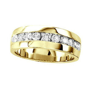 1-Ct-New-Yellow-Gold-Mens-Comfort-Fit-Diamond-Wedding-Band-Round-Channel-Ring