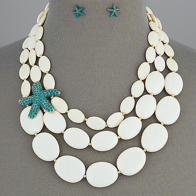 Gold Finish Cream White Starfish Sea Life Theme Necklace With Earrings