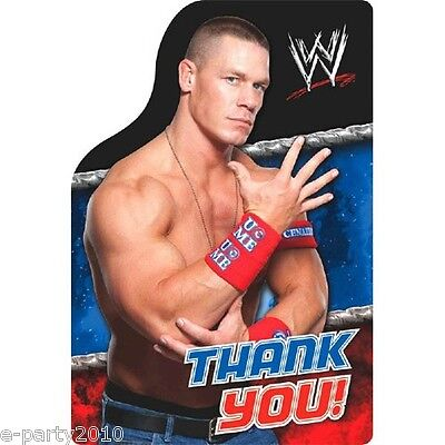 Wwe Birthday Cards (WWE WRESTLING THANK YOU NOTES (8) ~ Birthday Party Supplies Stationery)