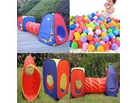3pcs Boys Girl Children Kids Play Tent Tunnel Ball Pit Playhouse pop up Playtent