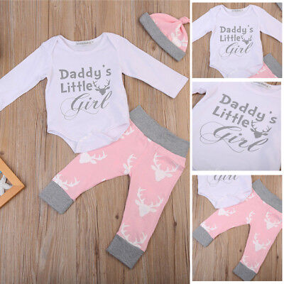 Usa Newborn Baby Girls Daddys Girl Romper Deer Pants Leggings Outfits Clothes