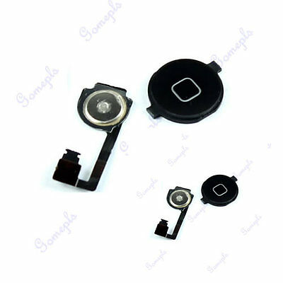 1PC Black Replacement Home Button Key With Repair Part Flex Cable For iphone 4G