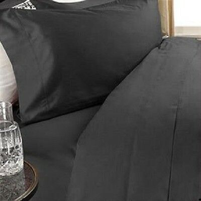 BLACK SOLID QUEEN BED SHEET SET 800 THREAD COUNT 100% EGYPTIAN COTTON for sale  Shipping to India