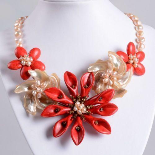 Coral Pearl Necklace Ebay