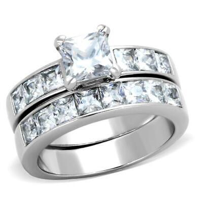3.75 Ct Princess Cut AAA CZ Stainless Steel Wedding Ring Set