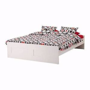 Lovely ikea white wooden double size bed + mattress , can deliver Box Hill North Whitehorse Area Preview