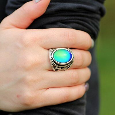 Antique Mood Ring Changing Color Stone Ring Sterling Silver Vintage Ring Size 8