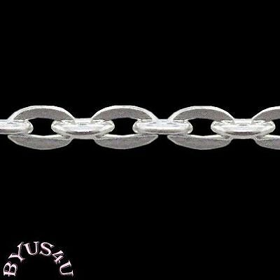 Chain Link Cable Beads - CABLE BEADING CHAIN 4x3mm ALTERNATE FLAT OVAL LINK SILVER PER YARD SOLDERED