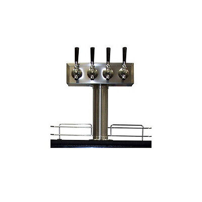 4 Tap Draft Beer T-tower - Stainless Steel Four Faucet Kegerator Tower