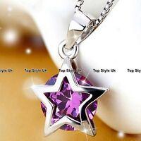 Xmas Presents For Her Women Girls Daughter Gf Purple Diamond Silver Necklace Fr3 - cj hut ltd - ebay.co.uk