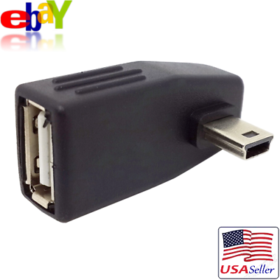 PAIR left right 90D Angled MiNi USB B male to USB A female Host OTG adapters