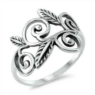 - Oxidized Leaf Filigree Floral Tree Ring .925 Sterling Silver Band Sizes 5-10 NEW