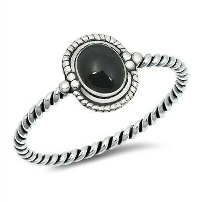 - Ring Genuine Sterling Silver 925 Black Onyx Oxidized Face Height 8 mm Size 7