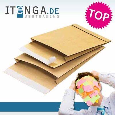 Tasche Falten (100 Stück Faltenversandtasche / Faltentasche / Versandtasche B4 braun 140g)
