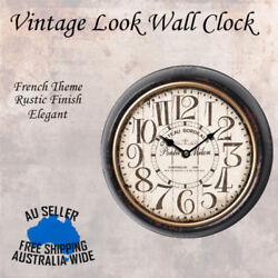 Metal Round Wall Clock Hotel Home Beach Vintage Rustic Elegant French Theme