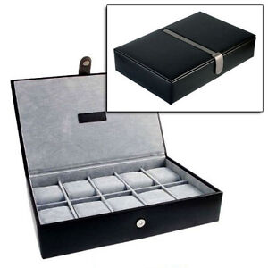 GENTS BLACK LEATHER ORGANISER WATCH CASE JEWELLERY BOX