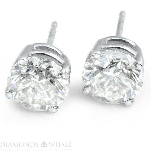 0.9 Ct Vs2/d Round Cut Stud Diamond Earrings Wedding 14k White Gold, Enhanced