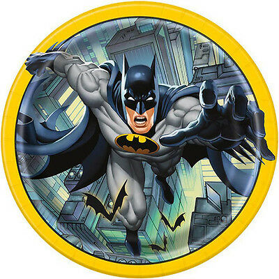 BATMAN Gotham Hero LARGE PAPER PLATES (8) ~ Birthday Party Supplies Dinner Lunch - Batman Party Plates