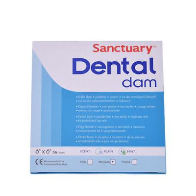 1 Box Dental Rubber Dam Sheet Natural Latex Dura Dam 36 Pcs 6 X 6 Inches Mint