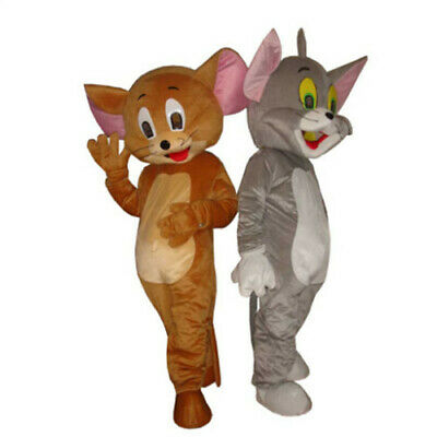 Cat And Mouse Costume (Tom Cat and Jerry Mouse Mascot Costume Adult Size Tom Cat and Jerry Mouse)
