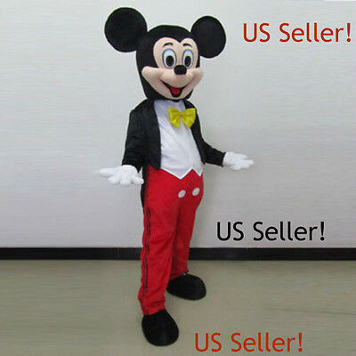 【TOP QUALITY】  MICKEY MOUSE MASCOT COSTUME ADULT SIZE HALLOWEEN DRESS-US Seller!