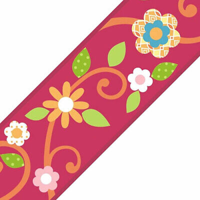 MAGENTA FLORAL WALL BORDER ROLL Peel-n-Stick Dots Flowers Accent Decor Wallpaper for sale  Shipping to India