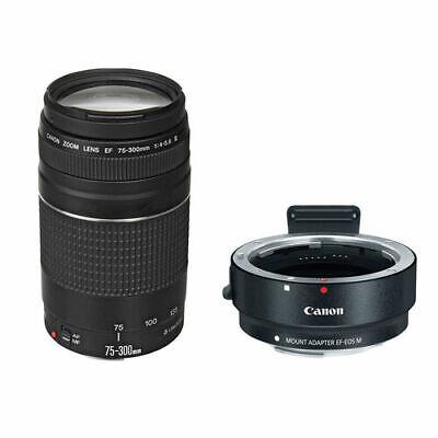 Canon EF 75-300mm f/4.0-5.6 III Lens w/Canon EF-M Lens Adapter Kit for EF Lenses