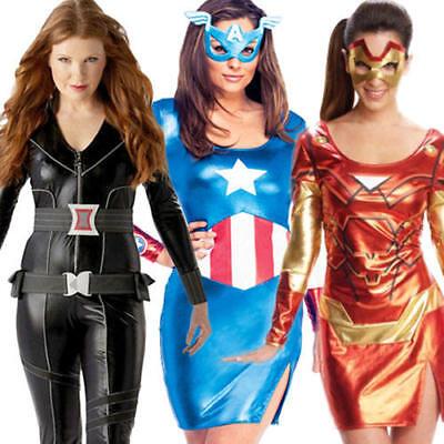 Avengers Superhero Ladies Costumes Comic Book Movie Womens Halloween Fancy Dress (Avengers Costumes For Women)