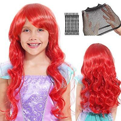 Tacobear Mermaid Wigs for Kids Girls Red Long Curl Wig with Wig Cap and Bobby Pi](Red Wig For Kids)