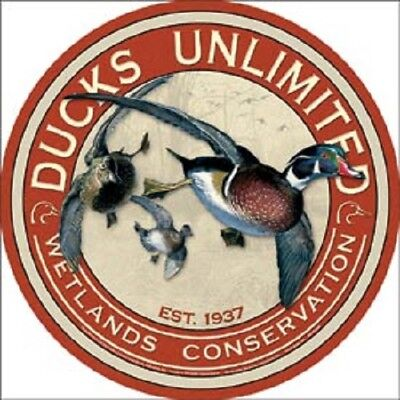"Ducks Unlimited 12"" Round Vintage Style Metal Signs Oil Gas Pump Garage Dad dog"