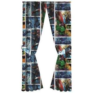 Marvel Avengers Assemble Rod Pocket Drapes Window Panel Curtains with Tie Backs for Kids Room