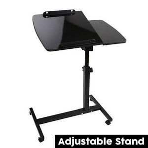 Rotating mobile laptop computer ipad pc desk adjustable for Pc bed table