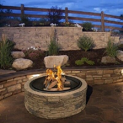 Outdoor Wood Burning Fire Pit Backyard Fireplace Patio Deck Heater Bowl Stone