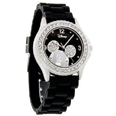 Disney Mickey Mouse Ice Crystal Black Rubber Band Quartz Watch MK1098