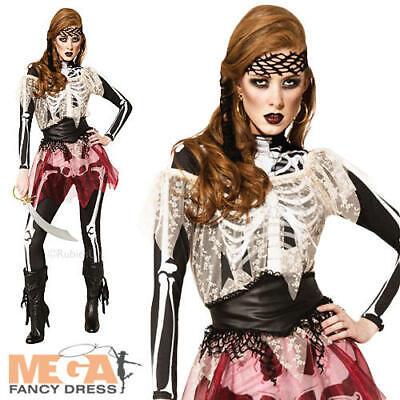 Halloween Costumes Skeleton Pirate (Skelle Pirate Wench Skeleton Ladies Halloween Fancy Dress Womens Costume)