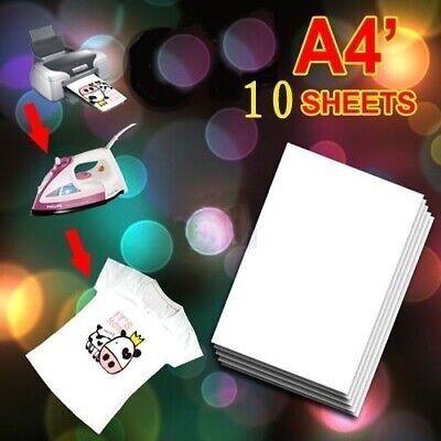 10pcs A4 Size Inkjet Heat Transfer Iron Paper For Light Fabrics T-shirt Diy