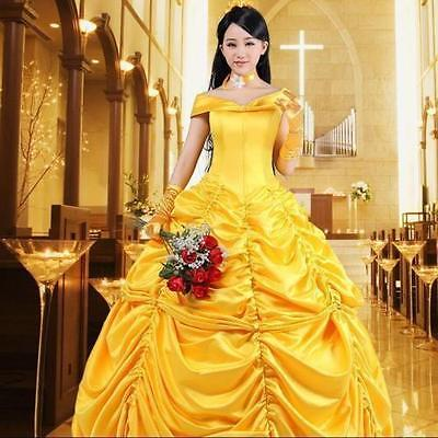 Adult Beauty and Beast Princess Belle Custom Costume Stage Party Cosplay Dress - Adult Belle Costume