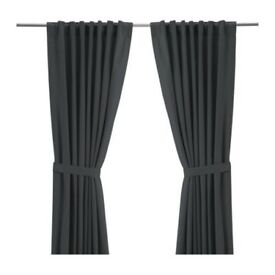 "Ikea Ritva long grey cotton curtains 57"" x 118"""