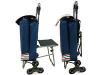 3 wheeled Waterproof Trolley Travel Shopping Bag Grocery Cart Folding Chair Blue