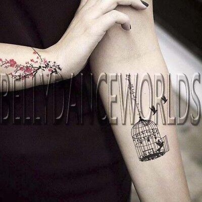 PINK RED FLOWER CHERRY BLOSSOM AND BIRDCAGE SWALLOW BIRD BIRDS TEMPORARY TATTOO