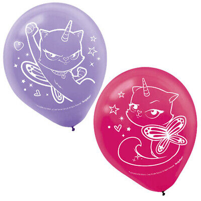 RAINBOW BUTTERFLY UNICORN KITTY LATEX BALLOONS (6) ~ Birthday Party Supplies