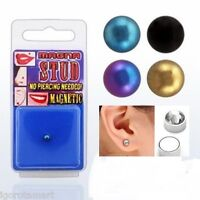 Fake Piercing Magnetic Ear Stud Labret Monroe Nose Adonized 4mm Ball - tragos - ebay.co.uk