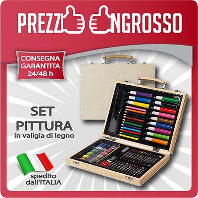 Set Colori 67 Pezzi Valigetta Legno Matite Pastelli Pennarelli Cera Acquerelli.