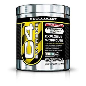 Cellucor C4 Extreme Pre-Workout With NO3 30 SERVINGS Fruit Punch- FREE SHIPPING