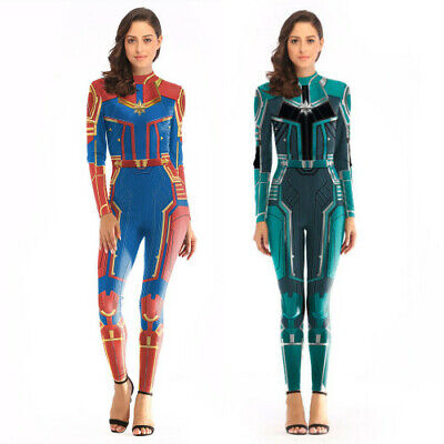 Captain Marvel Carol Danvers Cosplay Tights Costume Zentai Superhero Bodysuit  - Superhero Bodysuit